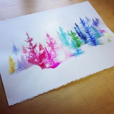 Image via We Heart It https://weheartit.com/entry/150695763/via/11755118 #art #coloredpencils #colorful #drawing #paint #painting #Paper #trees