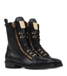 Giuseppe Zanotti Design | Leather Lace-Up Moto Boot - Black Ankle Boot at shop.harpersbazaar.com