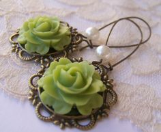 Antiqued Lime Earrings victorian Vintage Style by SSSJ on Etsy, $12.00