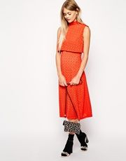 Sister Jane Laser Cut Mid Dress With Crop Top