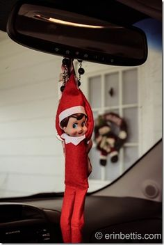 Hanging Out in the Car Elf on the Shelf. Click for more ideas!  #elfontheshelf