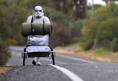 A Star Wars fan in a stormtrooper costume is walking the miles between Perth and Sydney Australia. Paul French, Storm Trooper Costume, Star Wars Poster, Walkabout, Star Wars Humor, Death Star, Lightsaber, How To Raise Money, Leather Backpack