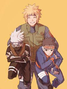 Minato Kakashi y Obito Kakashi Hatake, Naruto Uzumaki, Hinata, Itachi, Anime Naruto, Naruto Cute, Manga Anime, Team Minato, Naruto Teams