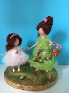 Needle felted Mother and daughter, Waldorf inspired, Soft sculpture, Wool art doll, Felted doll, Mother day, Birthday, Gift