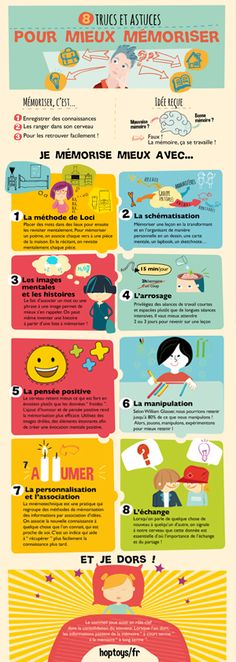 Montessori education - Infographic 8 tips and tricks to better memorize – Montessori education Autism Education, Montessori Education, Study Help, Study Tips, French Language Lessons, Memory Words, Bad Memories, Instructional Design, Poster S