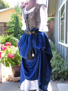 Pirate Wench Layering Skirt Deep Blue Satin | Handmade Pirate Garb | Pieces of Eight Costumes