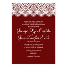 Rustic Country Vintage Lace Red Wedding Invitation http://www.zazzle.com/rustic_country_vintage_lace_red_wedding_invitation-161333918848360425?rf=238133515809110851
