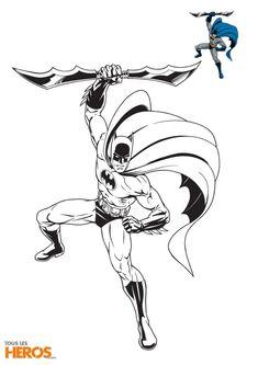 Coloriages Batman en plein combat, avec son arme à la main