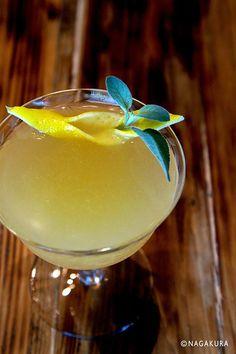 Lemon and Sage Garnish - Drinks - Cocktail Garnish, Cocktail Recipes, Cocktail Drinks, Blue Drinks, Fruit Drinks, Juke Box, Winter Drinks, Craft Cocktails, Fruit And Veg
