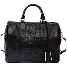 Louis Vuitton Limited Edition Black Embossed Leather Speedy Cube Bag
