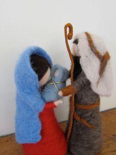 Waldorf inspired Needle felted Nativity set Holy by FeltandGrain, Christmas Nativity Set, Felt Christmas Ornaments, Christmas Mom, Needle Felted Animals, Felt Animals, Wet Felting, Needle Felting, Felting Tutorials, Fairy Dolls