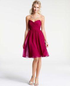 Silk Georgette Modern Strapless Bridesmaid Dress