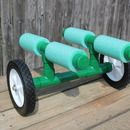 Portage cart for canoes and kayaks - lawn mower wheels, PVC, and foam.