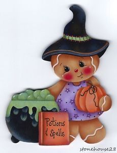 Halloween Gingerbread Refrigerator Magnets | Details about HP GINGERBREAD Halloween Witch FRIDGE MAGNET