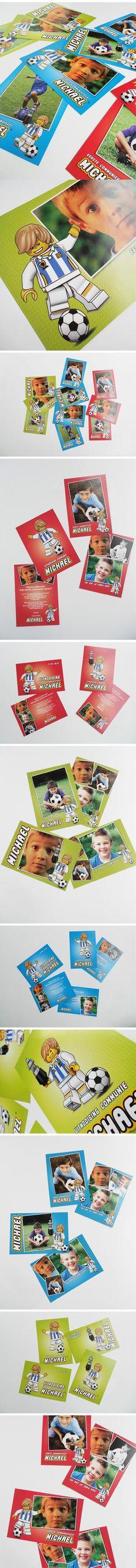 communiekaartjes, stijl Lego met voetballers