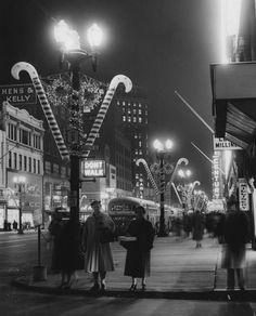 1950's downtown Christmas scene - B&W Photo - Candy Canes - Holiday - Santa Claus