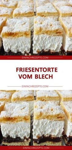 Friesentorte vom Blech - Torten , Friesentorte vom Blech Frieze cake from the tin Backen. German Bakery, Cake Recipes, Dessert Recipes, Gateaux Cake, Food Cakes, Cakes And More, Chocolate Desserts, No Bake Desserts, No Bake Cake
