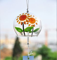 Handmade handpainting JAPANESE Traditional Culuture manga Glass Furin Wind Bell Chime windbell sun flowers