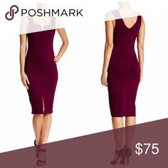 "Burgundy midi dress This on trend dress is perfect for the season features a split neck, bodycon fit midi length 39"" rayon/spandex. Small; 34/24/35 med: 36/26/37 Vanity Room Dresses Midi"