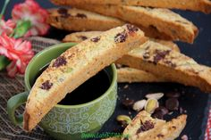 Pistachio, chocolate and orange biscotti.the perfect start to any day with a cup of coffee or tea! Chocolate Orange, Pistachio, Biscotti, Coffee Cups, Tea, Breakfast, Recipes, Food, High Tea
