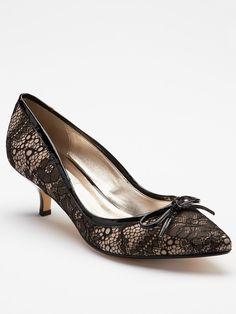 Black lace kitten heels.