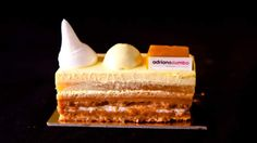 Mango mousse cake | This stunning cake creation from Adriano Zumbo sings Summer! Four times a year Zumbo releases a new range of desserts - this recipe features different textures and layers of mango and macadamia and is part of his Summer Love collection.