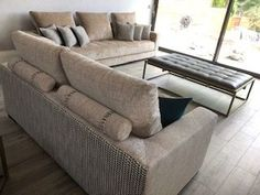 Stunning detailing makes these two sofas really striking in a large, light, open plan living area. Sofa Bed, Couch, Open Plan Living, Living Area, Sofas, Creativity, Furniture, Home Decor, Chair