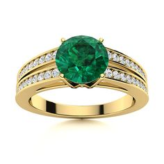 The Zara Tindall Emerald ring shows off a sparkling center gemstone, bordered by 2 rows of diamonds running down the split shank 14k Yellow Gold band on either side. Natural Emerald Rings, Split Shank, Love Ring, Gold Bands, Shades Of Green, Vintage Rings, Ring Designs, Diamonds, Zara