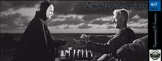 "Max Von Sydow as Antoninus Block, playing chess with Death (Bengt Ekerot) in Ingmar Bergman's, ""The Seventh Seal"", Bergman Movies, Bergman Film, Ingmar Bergman, Max Von Sydow, Marlon Brando, Hannah And Her Sisters, Isaac Hempstead Wright, Mike Nichols, The Seventh Seal"