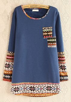 Blue Patchwork Pockets Long Sleeve Cotton Blend Sweatshirt