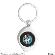 Cute zebra cartoon Silver-Colored swirl metal keychain