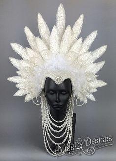 White Faux Feather Headdress