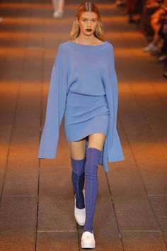 DKNY S/S '17 | Stella Maxwell sport long sleeve and thigh highs