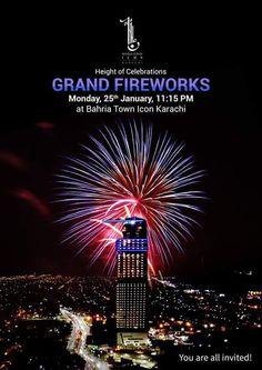 Wasiq1's Karachi blog : Grand Fireworks at Bahria Town Icon Tower