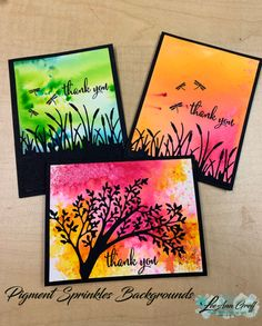 Pigment Sprinkles with Silhouettes; gorgeous backgrounds the easy way! So much fun playing with these awesome pigments. Technique lovers need these! Card Making Tutorials, Card Making Techniques, Making Ideas, Making Greeting Cards, Greeting Cards Handmade, Card Tags, I Card, Card Making Inspiration, Watercolor Cards