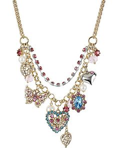 Betsey Johnson Necklace, Antique Gold-Tone Crystal Heart and Butterfly Frontal Necklace Heart Jewelry, Cute Jewelry, Jewelry Accessories, Jewelry Necklaces, Bubble Necklaces, Charm Bracelets, Butterfly Jewelry, Butterfly Necklace, Cherry Necklace