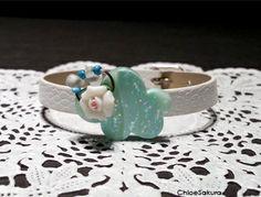 Bracelet Nuage turquoise et Rose blanche de ChloeSakura sur DaWanda.com