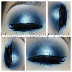 Sliver and blue eyeshadow