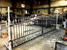 Custom Automated Wrought Iron Gates being fabricated in our iron shop Metal Driveway Gates, Spanish Architecture, Wrought Iron Gates, Scrap Metal Art, French Decor, Woodworking Ideas, Shop Ideas, Blacksmithing, Welding