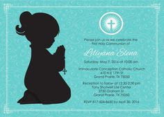 Girl Kneeling First Communion Invite Digital by AnnounceItFavors
