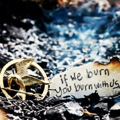 Mockingjay quote // mockingjay pin // While you live, the revolution lives // Fire is catching. And if we burn, you burn with us
