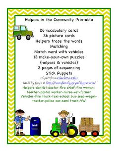 Preschool Printables: Helpers in the Community Printable Community Helpers Preschool, Classroom Community, Community Workers, My Community, Toddler Teacher, Preschool Printables, Preschool Activities, Vocabulary Cards, Teaching Resources