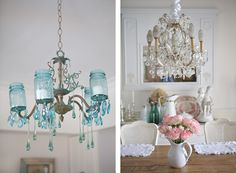 """Shabbyfufu.com, home and the """"famous"""" Mason jar chandelier that was the first one I created"""