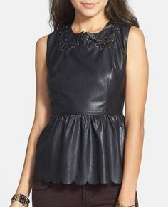 Perfect for your next rock concert! Faux Leather Peplum Top