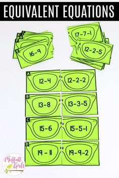 Equivalent Equations: This fun Grade Math activity helps students practice subtraction in a hands-on way! Teaching Skills, Teaching Math, Maths, Math Fractions, Equivalent Equations, Balancing Equations, First Grade Math, Grade 2, Daily 5 Math