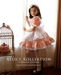 キャサリンコテージ ピーチピンクのアリス エプロンドレス