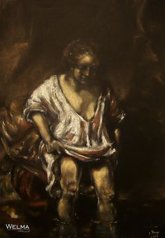 """""""Hedrickje w kąpieli"""" na podstawie obrazu Rembrandta"""
