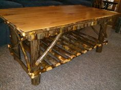Rustic Solid Hickory Log Coffee Table Pennsylvania Amish Living Room Custom