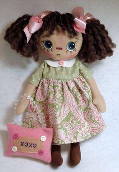 Prim Raggedy Ann Doll  Lilly by Allisbright on Etsy