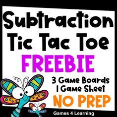 Subtraction Facts Tic Tac Toe Math Games Freebie from Games 4 Learning combines the fun of Tic Tac Toe and with practice of basic subtraction acts.It includes 3 Tic Tac Toe Subtraction Game Boards and 1 Print and Play Game Sheet.These fun, math board games are for 2 players. They use the classic Tic... Math Board Games, Math Boards, Math Games, Subtraction Games, Multiplication Facts, Addition And Subtraction, Division Games, Math Fact Fluency, Math Crafts